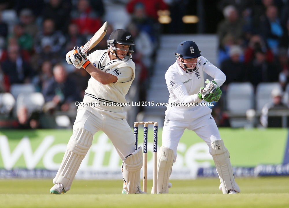 Tom Latham bats during the second Investec Test Match between England and New Zealand at Headingley, Leeds. Photo: Graham Morris/www.photosport.co.nz