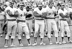 Oakland A's sluggers line up before 1972 play-off game against the Detroit Tigers...from the left: Mike Epstein, Sal Bando, Reggie Jackson, Joe Rudi and Matty Alou...(1972 photo/Ron Riesterer)