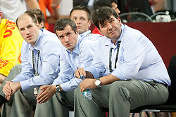 Bojan Lazic, Miro Alilovic, Aleksander Sekulic and Head coach of Slovenia Memi Becirovic  during the quarter-final basketball match between National teams of Turkey and Slovenia at 2010 FIBA World Championships on September 8, 2010 at the Sinan Erdem Dome in Istanbul, Turkey.  Turkey defeated Slovenia 95 - 68. (Photo By Vid Ponikvar / Sportida.com)