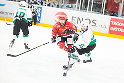 Philippe PARADIS vs Ziga SVETE during First league match between HDD Acroni Jesenice vs HK SZ Olimpia, on April 23, 2019 in Jesenice, Slovenia. Photo by Peter Podobnik / Sportida