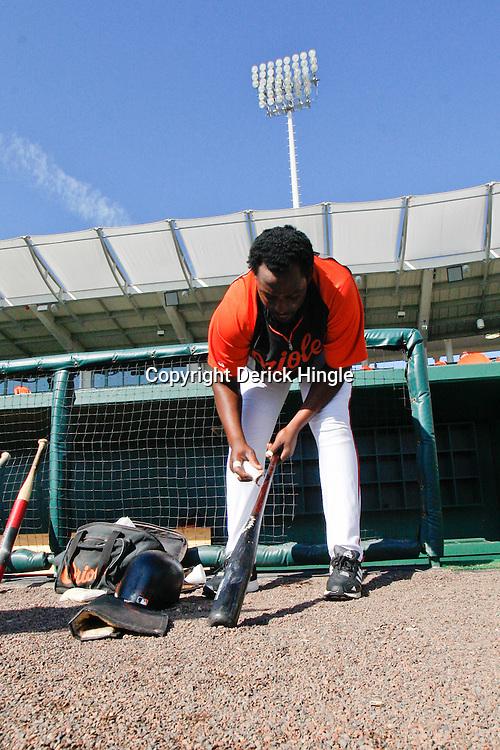 March 14, 2011; Sarasota, FL, USA; Baltimore Orioles designated hitter Vladimir Guerrero (27) before a spring training exhibition game against the Pittsburgh Pirates at Ed Smith Stadium.   Mandatory Credit: Derick E. Hingle