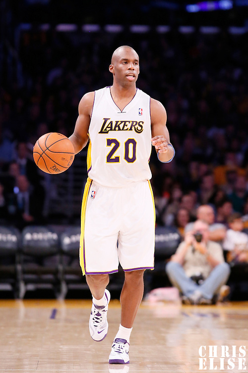 05 January 2014: Los Angeles Lakers shooting guard Jodie Meeks (20) brings the ball upcourt during the Denver Nuggets 137-115 victory over the Los Angeles Lakers at the Staples Center, Los Angeles, California, USA.