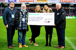 Half time cheque presentation - Mandatory by-line: Dougie Allward/JMP - 23/11/2019 - RUGBY - Sandy Park - Exeter, England - Exeter Chiefs v Glasgow Warriors - Heineken Champions Cup