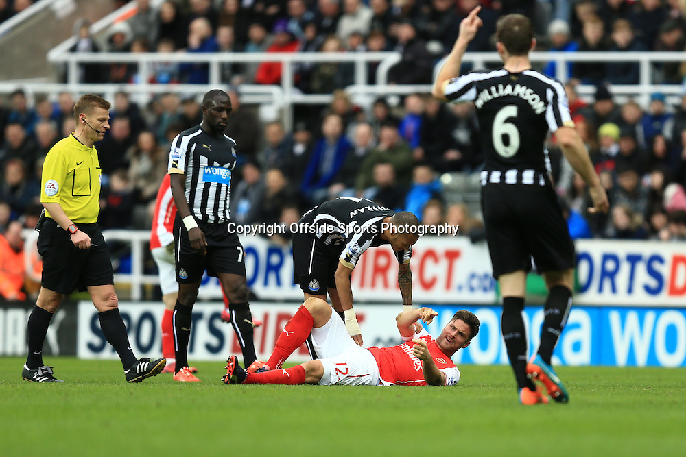 21 March 2015 - Barclays Premier League - Newcastle United v Arsenal - Olivier Giroud of Arsenal points an accusing finger at Michael Williamson of Newcastle United after being fouled - Photo: Marc Atkins / Offside.