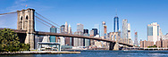 The Brooklyn Bridge with Manhattan behind seen from Dumbo in Brooklyn following the Transatlantic Fashion Week on board Cunard's luxury liner, Queen Mary 2.<br /> Picture date: Friday September 8, 2017.<br /> Photograph by Christopher Ison &copy;<br /> 07544044177<br /> chris@christopherison.com<br /> www.christopherison.com