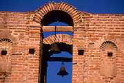 Telephoto view of the Tumacacori Mission's bell towers, Tumacacori, Arizona..Rights & Usage:.No rights granted. Subject photograph(s) are copyrighted by ©1989 Edward McCain/McCain Photography. All rights are reserved except those specifically granted by this invoice...McCain Photography.211 S 4th Avenue.Tucson, AZ 85701-2103.(520) 623-1998.mobile: (520) 990-0999.fax: (520) 623-1190.http://www.mccainphoto.com.edward@mccainphoto.com