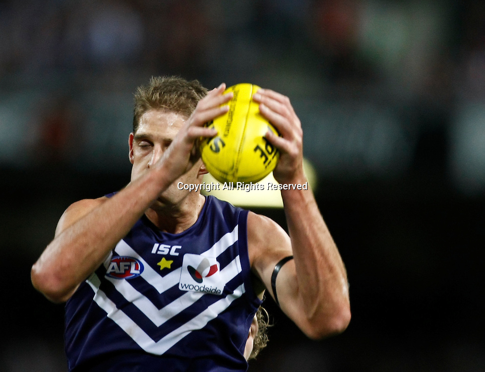 31.03.2012 Subiaco, Australia. Fremantle v Geelong. Aaron Sandilands in action during the Round 1 game played at  Patersons Stadium.