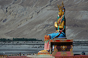 Pilgrims are dwarfed by the giant Buddha statue at Diskit Monastery, in the Nubra Valley.