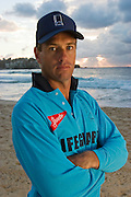 Bruce Hopkins, who works as a lifeguard at the famous Bondi Beach in Sydney, Australia.  (Featured in the book What I Eat: Around the World in 80 Diets.) The caloric value of his day's worth of food on a typical day in the month of February was 3700 kcals. He is 35 years of age;  6 feet tall, and 180 pounds. Hopkins eats moderately, rarely (if ever) eats fast food, and drinks alcohol only when he and his wife go to dinner with friends. MODEL RELEASED.