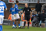 The 4th official replaces the assistant referee during the EFL Sky Bet League 1 match between Peterborough United and Rotherham United at London Road, Peterborough, England on 25 January 2020.