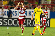FRISCO, TX - SEPTEMBER 29:  Blas Perez #7 of FC Dallas celebrates after scoring a goal against the Columbus Crew on September 29, 2013 at Toyota Stadium in Frisco, Texas.  (Photo by Cooper Neill/Getty Images) *** Local Caption *** Blas Perez
