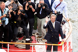 © Licensed to London News Pictures. 15/06/2016. London, UK. Nigel Farage on a boat as the pro-Brexit campaign 'Fishermen for Leave', sail a flotilla of over 30 vessels up the Thames. The flotilla, including UKIP leader Nigel Farage, caused traffic issues in central London, as vessels travelled up the Thames for high tide and to coincide with the last Prime Minister's Questions before the EU referendum takes place on 23 June. Photo credit : Tom Nicholson/LNP