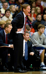 January 30, 2010; San Francisco, CA, USA;  Gonzaga Bulldogs head coach Mark Few during the first half against the San Francisco Dons at the War Memorial Gym.   San Francisco defeated Gonzaga 81-77 in overtime.