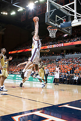 Virginia Cavaliers forward Jason Cain (33) goes up for a dunk against GT.  Cain was fouled on the play and completed the shot and the free throw.  The Virginia Cavaliers Men's Basketball Team defeated the Georgia Tech Yellow Jackets 75-69 at the John Paul Jones Arena in Charlottesville, VA on February 24, 2007.