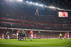 LONDON, ENGLAND - Wednesday, October 28, 2009: Liverpool's players defend a free-kick from Arsenal's Samir Nasri during the League Cup 4th Round match at Emirates Stadium. (Photo by David Rawcliffe/Propaganda)