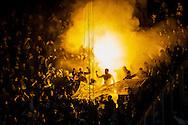 EINDHOVEN, PSV - Dynamo Moskou, voetbal, Europa League groepsfase, 11-12-2014, Philips Stadion, de fans van Dynamo Moskou steken vuurwerk af in het uitvak.