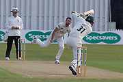 Chris Wright drives Chadd Sayer during the Specsavers County Champ Div 2 match between Leicestershire County Cricket Club and Gloucestershire County Cricket Club at the Fischer County Ground, Grace Road, Leicester, United Kingdom on 17 June 2019.