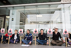 London, UK. 9th June, 2018. Climate change activists from Vote No Heathrow commence a hunger strike outside the Labour Party HQ to urge the party to commit its MPs to voting in Parliament against approval of a third runway at Heathrow Airport. Cabinet approval was given last week.
