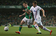 Jonathan Hayes of Republic of Ireland and  Olafur Ingi Skulason of Iceland during the International Friendly match at the Aviva Stadium, Dublin<br /> Picture by Lorraine O'Sullivan/Focus Images Ltd +353 872341584<br /> 28/03/2017