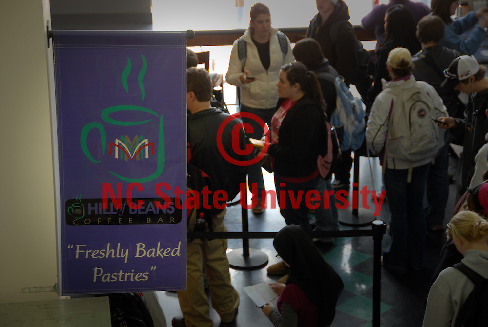 Students line up for coffee and pastries at Hill of Beans coffee bar in DH Hill Library. PHOTO BY ROGER WINSTEAD