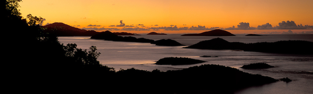 Golden Sky at sunset looking toward St Thomas from St John, US virgin islands