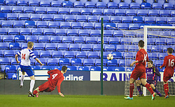 READING, ENGLAND - Wednesday, March 12, 2014: Reading's George McLennan scores the fourth goal against Liverpool to equalise the scores at 4-4 in the last minutes of extra-time during the FA Youth Cup Quarter-Final match at the Madejski Stadium. (Pic by David Rawcliffe/Propaganda)