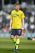 ManManchester City midfielder Kevin De Bruyne (17) warming up wearing a Kick It Out anti-racism t-shirt, before the Premier League match between Fulham and Manchester City at Craven Cottage, London, England on 30 March 2019.