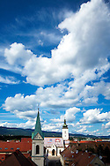 View of St Mark Church and Zagreb's surrounding mountains