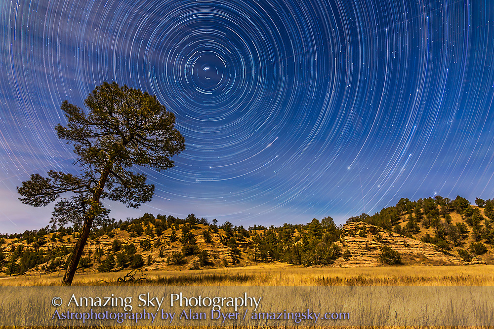 Circumpolar star trails over the moonlit Mimbres Valley near Lake Roberts in the Gila National Forest, in southern New Mexico. Illumination is from the waxing gibbous Moon. Polaris is at upper left, while the stars of the Big Dipper are rising at right, with just the Bowl&rsquo;s Pointer stars visible at the start of the sequence, then rising to bring the entire Dipper above the horizon, with Alkaid, the end star of the handle, just clearing the ridge at right. (I had to wait till 10 pm for the star to appear so the entire Dipper would be in the final frames.)<br />