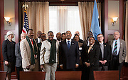 Ohio University representatives including President Roderick McDavis, center, and members of the Ministry of Education Skills and Development, Botswana, pose for a group portrait before a luncheon at Baker Center on January 21, 2014. The luncheon was hosted by the Ohio University Center for International Studies. <br />