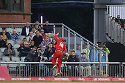 Lancashires Arron Lilley cant reach a high ball during the Vitality T20 Blast North Group match between Lancashire County Cricket Club and Yorkshire County Cricket Club at the Emirates, Old Trafford, Manchester, United Kingdom on 20 July 2018. Picture by George Franks.