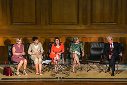 © Licensed to London News Pictures. 27/08/2019. London, UK. From left: Leader of Change UK Anna Soubry, Green Party MP Caroline Lucas, Liberal Democrats Leader Jo Swinson, Plaid Cymru Westminster Leader Liz Saville-Roberts, and Shadow Chancellor John McDonnell at an event at Church House. MPs and party leaders have signed the 'Church House Declaration' to assert their commitment to avoiding a no deal exit from the EU. Photo credit: Rob Pinney/LNP