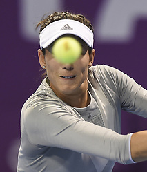 DOHA, Feb. 19, 2018  Garbine Muguruza of Spain hits a return during the single's final match against Petra Kvitova of Czech Republic at the 2018 WTA Qatar Open in Doha, Qatar, on Feb. 18, 2018. Petra Kvitova won 2-1 to claim the title. (Credit Image: © Nikku/Xinhua via ZUMA Wire)