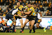Jeff Toomaga-Allen looks to break the defence during the Super Rugby match, Brumbies V Hurricanes, GIO Stadium, Canberra, Australia, 30th June 2018.Copyright photo: David Neilson / www.photosport.nz