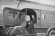 Marie Curie (1867-1934) Polish-born French physicist driving the Renault car converted into a radiological unit which, from August 1914, she drove from hospital to hospital.