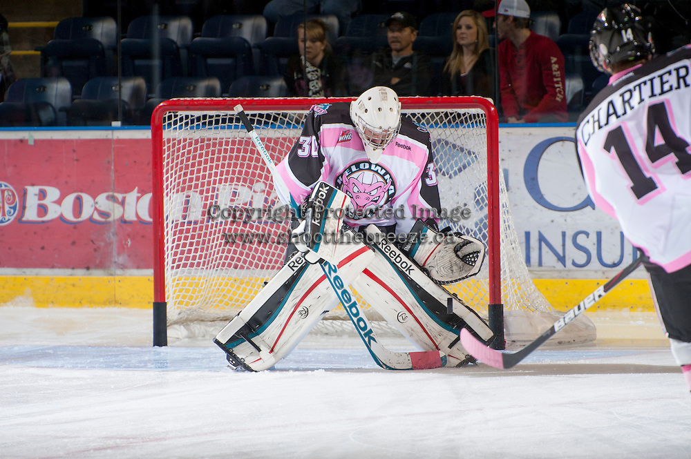KELOWNA, CANADA - OCTOBER 20:  Jordon Cooke #30 of the Kelowna Rockets warms up on the ice against the  Brandon Wheat Kings at the Kelowna Rockets on October 20, 2012 at Prospera Place in Kelowna, British Columbia, Canada (Photo by Marissa Baecker/Shoot the Breeze) *** Local Caption ***