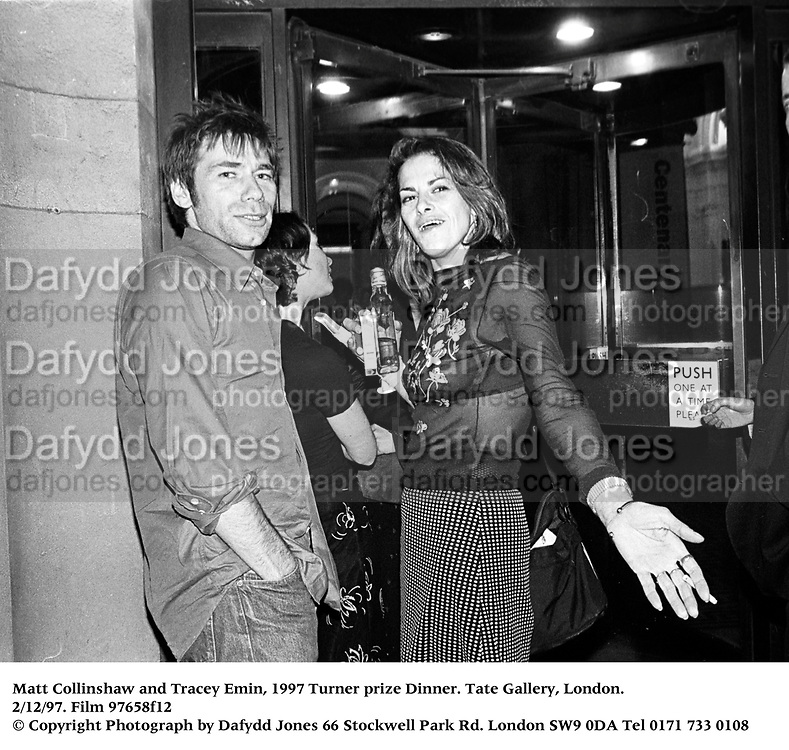 Matt Collinshaw and Tracey Emin, 1997 Turner prize Dinner. Tate Gallery, London. 2/12/97. Film 97658f12<br /> © Copyright Photograph by Dafydd Jones<br /> 66 Stockwell Park Rd. London SW9 0DA<br /> Tel 0171 733 0108
