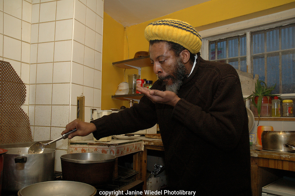 Rastafarian chef at the Rasta Farian Community Centre in St Agnes Place South London.
