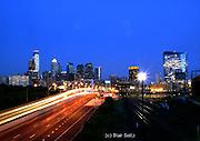 Philadelphia Skyline, Comcast (L) and Cira (R) Skyscrapers, Night Car Light Streaks
