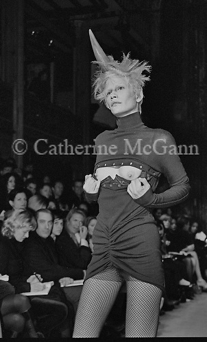 March 1996:  A model exposes her breasts at Alexander McQueen's first fashion show in New York.  The collection was shown in a former synagogue on Norfolk Street (now the Angel Orensanz Foundation Center for the Arts) on the Lower East side in New York City, New York.