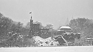 Belvedere Castle during a snow storm in Central Park, New York City.