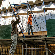 Because of NYC Local Law 11, workers are assembling scaffolding from bottom to top and around the outside of Lenox Health Greenwich Village building. This process will take up to 6 months or more to complete.<br />