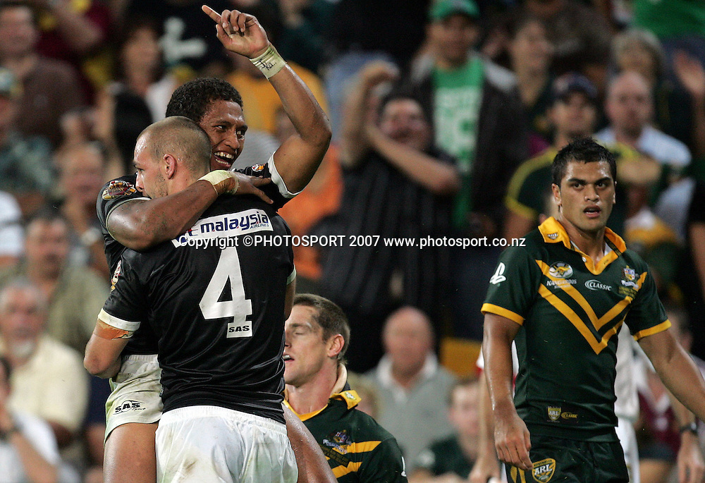 Manu Vatuvei celebrates after scoring during the ANZAC international rugby league match between the Kiwis and Australia at Suncorp Stadium, Brisbane, Australia on Friday 20 April 2007. Australia won the match by 30 - 6. Photo: Hannah Johnston/PHOTOSPORT<br /> <br /> <br /> <br /> 200407