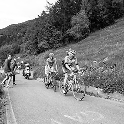 Steven Kruijswijk, Alberto Contador, and Mikel Landa - forming the lead group over the Mortirolo.
