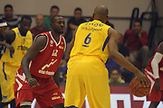 Maccabi Tel Aviv Basketball team (Yellow) Playing Hapoel Gilboa-Galil (Red) on October 16th 2011. Final result Maccabi 95 Hapoel 60. Devin Smith