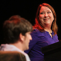 Holli Saperstein speaks Sunday March 8, 2015 during A Roast of John Staton, a benefit for Susan Auten at TheatreNOW in Wilmington, N.C. (Jason A. Frizzelle)