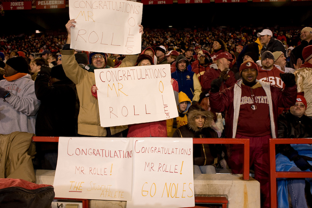 College Park, Maryland - Florida State University football fans cheer on Myron Rolle during the away game at College Park, Maryland, the day that Myron learned he won a Rhodes Scholarship..Photo by Susana Raab