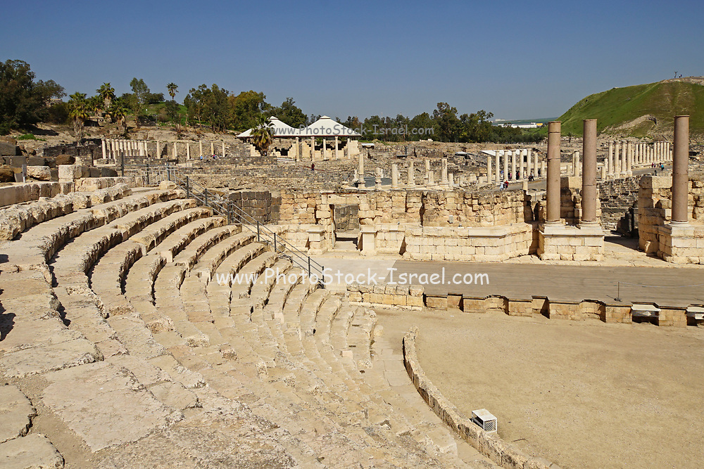 """Israel, Bet Shean Roman theatre dating from the first century CE. During the Hellenistic period Bet Shean had a Greek population and was called Scythopolis. In 64 BCE it was taken by the Romans, rebuilt, and made the capital of the Decapolis, the """"Ten Cities"""" of Samaria that were centers of Greco-Roman culture. The city contains the best preserved Roman theater of ancient Samaria as well as a hippodrome, cardo, and other trademarks of the Roman influence. Excavations at the cite are ongoing and reveal no less than 18 successive ancient towns"""