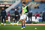 Chelsea defender Marcos Alonso (3) warming up during the Premier League match between Burnley and Chelsea at Turf Moor, Burnley, England on 26 October 2019.