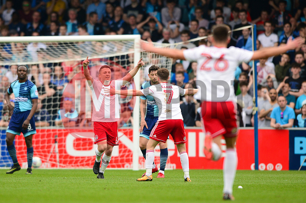 Scott Brown of Accrington Stanley celebrates his goal - Mandatory by-line: Dougie Allward/JMP - 21/04/2018 - FOOTBALL - Adam's Park - High Wycombe, England - Wycombe Wanderers v Accrington Stanley - Sky Bet League Two